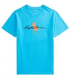 Ralph Lauren Boys Cove Blue Big Pony Logo T-Shirt