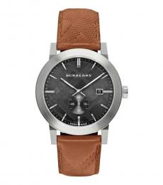 Burberry Brown Silver City Embossed Check Watch