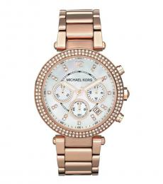 Michael Kors Rose Gold Parker White Dial Watch
