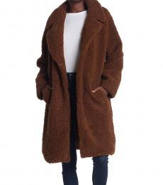 Pecan Faux Shearling Coat