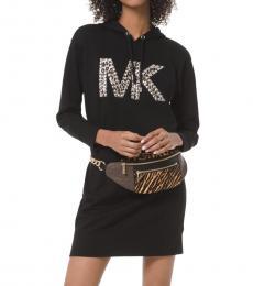 Michael Kors Black Studded Leopard Logo Sweater Dress