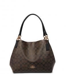 Coach Dark Brown Hallie Large Shoulder Bag