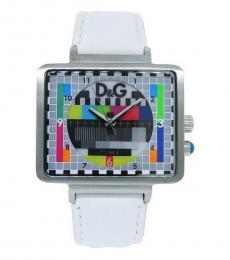 White Analog Retro Tv Style Watch