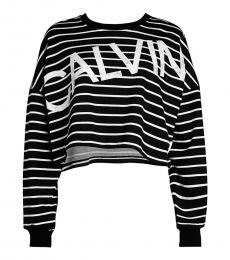 Calvin Klein Black Logo Stripe Cropped Sweatshirt