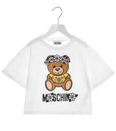 Moschino Little Girls White Teddy Floral T-Shirt