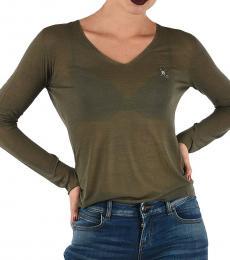 Emporio Armani Olive V-Neck Sweater
