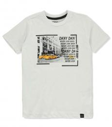 DKNY Little Boys White Black Graphic T-Shirt