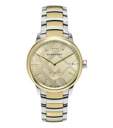 Burberry Silver-Gold Classic Round Watch