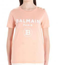 Balmain Light Pink Gold Buttons Logo T-Shirt