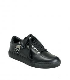 Versace Collection Black Side Logo Buckle Sneakers