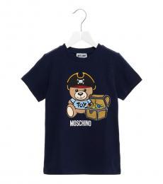 Moschino Boys Blue Logo Print T-Shirt