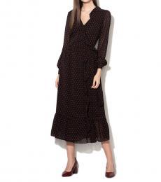 Michael Kors Black Polka Dot Georgette Wrap Dress