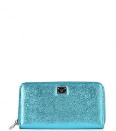 Aqua shiny Dauphine Zip Wallet