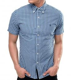 Ralph Lauren Blue Plaid Short Sleeves Shirt
