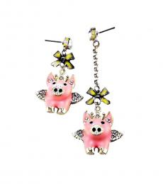 Betsey Johnson Light Pink Pig Dangle Drop Earrings