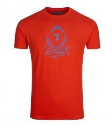 Trussardi Orange Wired Logo Solid T-Shirt