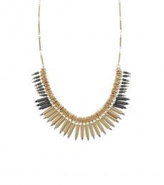 Gold Beaded Fringe Necklace