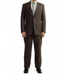 Brown Linen Two Button Suit