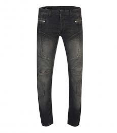 Balmain Grey Logo Patch Jeans