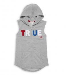 True Religion Little Boys Grey Logo Embroidery Hoodie