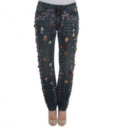 Blue Roses Hearts Embellished Jeans