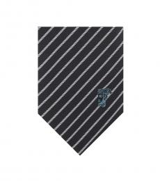 Versace Black White Textured Diagonal Stripe Tie