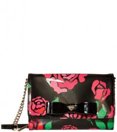 Betsey Johnson Black Floral Bow Small Crossbody