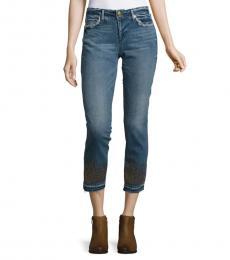 True Religion Blue Cora Embellished Cropped Jeans