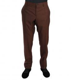 Dolce & Gabbana Dark Brown Wool Silk Formal Trousers