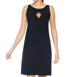 Cavalli Class Black Crew Neck Midi Dress