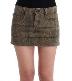 Brown Cotton Mini Skirt