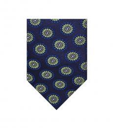 Ted Baker Navy-Green Floral Medallion Tie