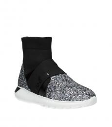 Silver Black Front Logo Boots