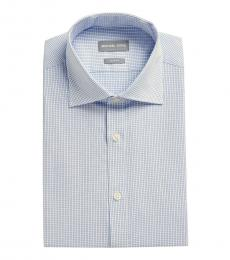 Blue White Slim Fit Check Dress Shirt