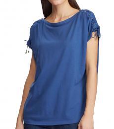 Ralph Lauren Royal Blue Lace-Up-Sleeve Top