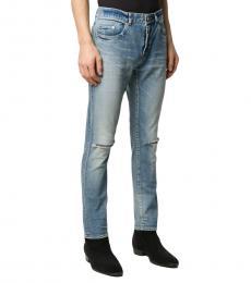 Saint Laurent Blue Distressed Detail Slim-Fit Jeans