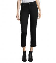 AG Adriano Goldschmied Super Black Studed High-Rise Jeans