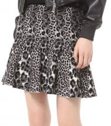 Dark Grey Mixed Leopard Pleated Skirt