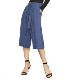 Blue Pleated Culotte Pant