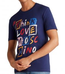 Blue Think Scribble Graphic T-Shirt