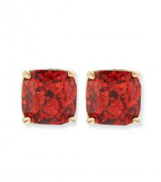Red Square Glitter Stud Earrings