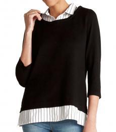 Black  Twofer Pinstripe Sweater