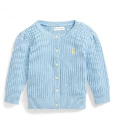 Ralph Lauren Baby Girls Blue Puff-Sleeve Cardigan