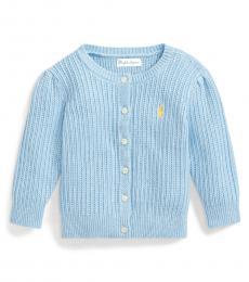 Ralph Lauren Baby Girls Blue Puff-Sleeve Cardigan