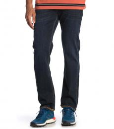 7 For All Mankind Navy Blue Squiggle Slim Jeans