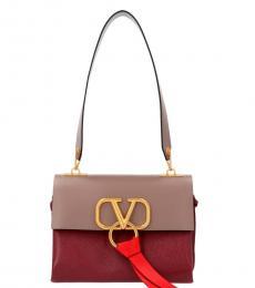 Valentino Garavani Maroon V Ring Medium Shoulder Bag