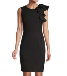 Black Ruffled Sheath Dress