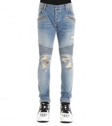 Balmain Blue Biker Ribbed Slim Jeans