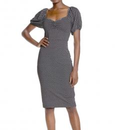 Betsey Johnson BlackWhite Polka Dot Print Midi Dress