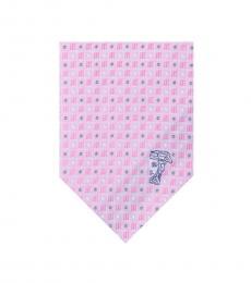 Versace Pink Printed Silk Tie
